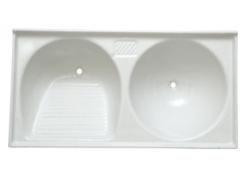 Tanque mármore sintético duplo (branco)  1.10x0.55