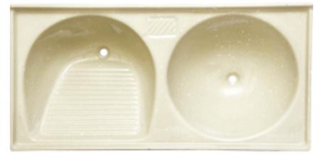 Tanque duplo mármore sintético (bege) TR 1.24x0.62