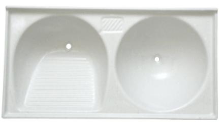 Tanque duplo de mármore sintético (gelo) 1.00x0.51