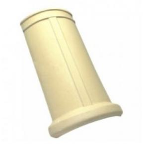 Cumeeira redonda branca para telha americana com resina incolor (Cerâmica Martins)